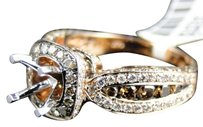 Jewelry Unlimited 14k,Rose,Pink,Gold,Cognac,Brown,Diamond,Channel,Set,Semi,Mount,Engagement,Ring