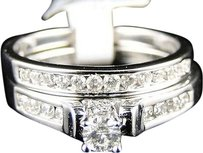 Jewelry Unlimited 14k,Ladies,White,Gold,Round,Diamond,Solitaire,Bridal,Engagement,Ring,Set,12,Ct