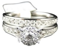 Jewelry Unlimited Ladies,14k,White,Gold,Diamond,Solitaire,Engagement,Wedding,Bridal,Ring,Set,1,Ct