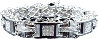 Jewelry Unlimited Men,10k,White,Gold,Genuine,Diamond,3d,Pave,Crossover,Style,Bracelet,15mm,3.5ct