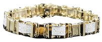 Jewelry Unlimited Mens,Pave,Set,10k,Yellow,Gold,Round,Cut,Genuine,8.0,Inch,Diamond,Bracelet,3.75ct