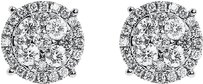 Jewelry Unlimited 14k,White,Gold,Mens,Ladies,Round,Diamond,8mm,Prong,Cluster,Stud,Earrings,0.75,Ct