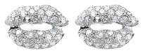 Jewelry Unlimited 10k,White,Gold,Ladies,Round,Pave,Diamond,Mini,Lips,Studs,Earrings,0.50,Ct