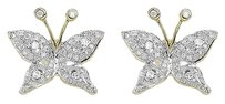 Jewelry Unlimited 10k,Yellow,Gold,Ladies,14mm,Pave,Round,Diamond,Butterfly,Stud,Earrings,0.50,Ct