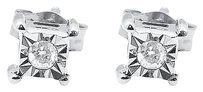 Jewelry Unlimited 10k,White,Gold,Round,Diamond,Bezel,4mm,Square,Prong,Studs,Earrings,120ct