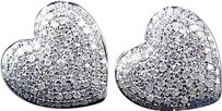 Jewelry Unlimited 10k,White,Gold,Ladies,Pave,Round,Diamond,Heart,Invisible,Studs,Earrings,1.20,Ct