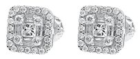 Jewelry Unlimited Mens,Ladies,14k,White,Gold,Princess,Round,Baguette,Diamond,Studs,Earrings,0.53ct