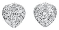 Jewelry Unlimited 14k,White,Gold,Ladies,Round,Cluster,Diamond,Heart,Fashion,Studs,Earrings,1.08,Ct