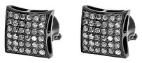 Jewelry Unlimited Black,Pvd,Finish,Round,Diamond,8mm,Steel,Puffed,Kite,Studs,Earrings,0.72,Ct