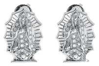 Jewelry Unlimited 10k,White,Gold,Our,Lady,Of,Guadalupe,Mother,Mary,13mm,Studs,Earrings,0.25,Ct