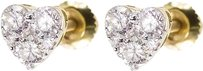 Jewelry Unlimited 14k,Yellow,Gold,Ladies,Round,Diamond,Heart,6mm,Studs,Earrings,0.50,Ct