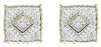 Jewelry Unlimited 10k,Yellow,Gold,Mens,Ladies,3d,Pave,Diamond,10mm,Square,Studs,Earrings,0.25,Ct