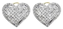 Jewelry Unlimited 14k,Gold,Ladies,Princess,Vs,Diamond,Heart,Fashion,Studs,Earrings,2.46ct