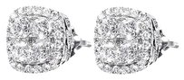 Jewelry Unlimited 14k,White,Gold,Mens,Ladies,Round,Diamond,Illusion,Set,9mm,Earrings,Studs,1.0ct