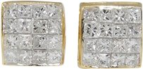 Jewelry Unlimited Mens,Ladies,14k,Yellow,Gold,Bezel,Princess,But,8,Mm,Diamond,Stud,Earrings,34,Ct