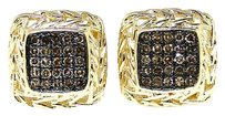 Jewelry Unlimited Mens,Ladies,Yellow,Gold,Finish,Brown,Pave,Diamond,Stud,Earrings,10,Mm