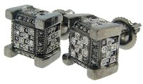 Jewelry Unlimited Icy,Ice,Cube,Block,All,Black,Diamond,Stud,Earrings,9,Mm