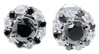 Jewelry Unlimited 10k,White,Gold,Black,Diamond,8,Mm,Solitaire,Halo,Cluster,Stud,Earrings,1,Ct