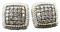 Jewelry Unlimited 10k,Ladies,Yellow,Gold,Brown,Cognac,Diamond,Square,3d,Studs,Earrings,1.29,Ct