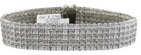 Jewelry Unlimited Mens,Pave,White,Gold,Finish,Round,Cut,Real,5,Row,16,Mm,Diamond,Bracelet,9,Inch