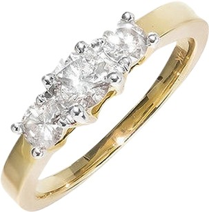 Jewelry Unlimited 14k,Yellow,Gold,Ladies,3,Stone,Round,Diamond,Engagement,Anniversary,Ring,.95,Ct