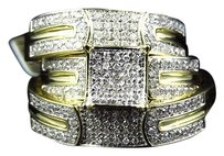 Jewelry Unlimited 10k,Yellow,Gold,Round,Cut,Diamond,Engagement,Bridal,Wedding,Ring,Trio,Set,.75,Ct