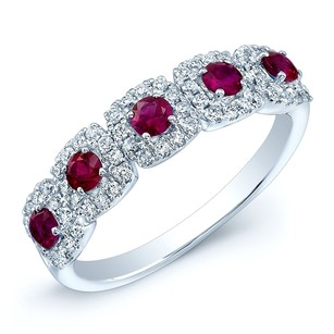 Five Round Cut Ruby & Side Diamond Fashion Ring in 14K White Gold