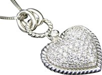 Jewelry Unlimited Ladies,14k,White,Gold,Estate,Rope,Puffed,Pave,Heart,Diamond,Pendant,Charm,Chain