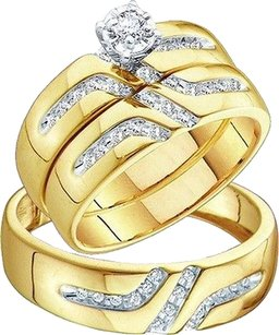 Jewelry Unlimited 10k,Mens,Ladies,Yellow,Gold,Diamond,Engagement,Bridal,Wedding,Ring,Trio,Set,0.28