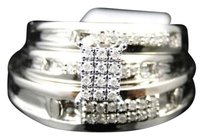 Jewelry Unlimited 10k,Mens,Ladies,White,Gold,Diamond,Engagement,Bridal,Wedding,Ring,Trio,Set