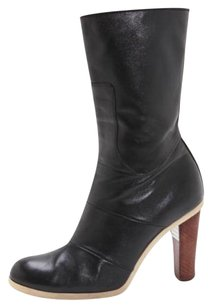 Jil Sander Leather Classic High Heel Ankle Black Boots