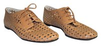Jil Sander Navy Brown Leather Laser Cut Out Lace Up Oxfords Chic Black Flats