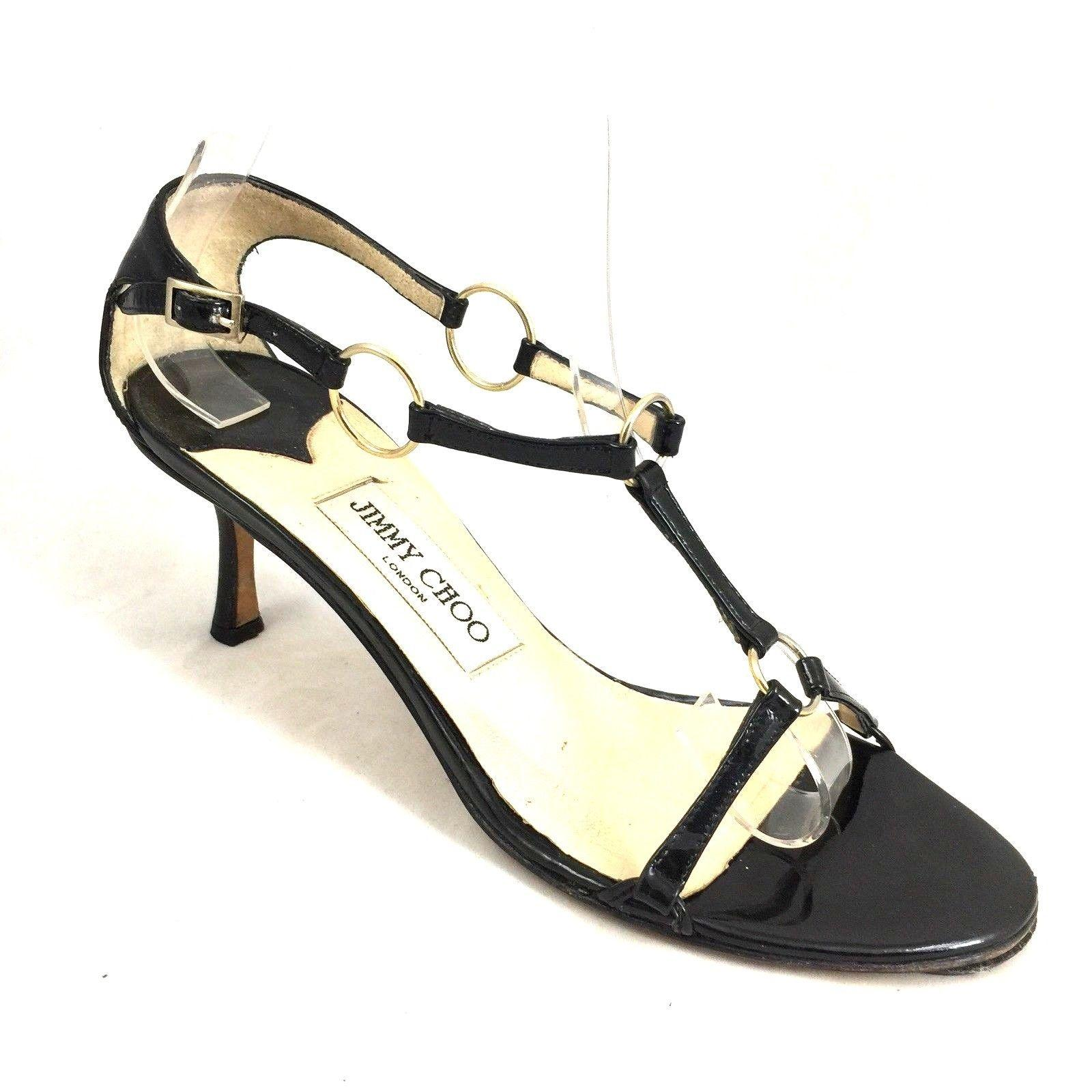 Jimmy Choo Black Helium Patent Leather Ankle Strap Harness Open Toe Cage Sandals Size US 6.5 Regular (M, B)