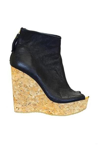 Jimmy Choo Black Paw Size Cork-wedge Leather Bootie Wedges Size Paw US 8.5 Regular (M, B) 2949a7