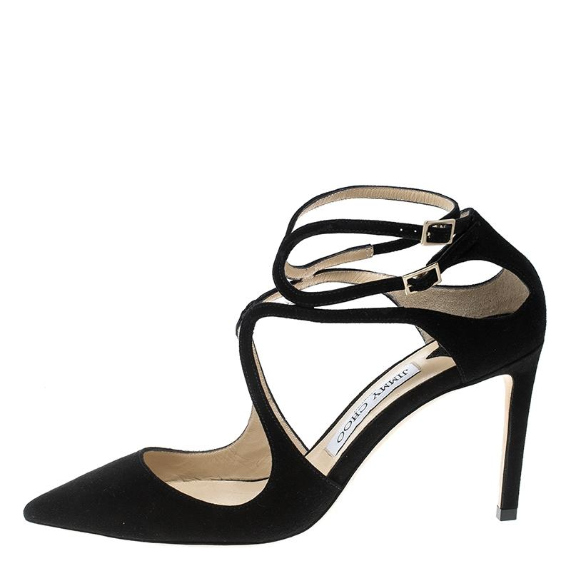 Jimmy Choo Black Suede Lancer Ankle Strap Pointed Pumps Size EU 38 (Approx. US 8) Regular (M, B)