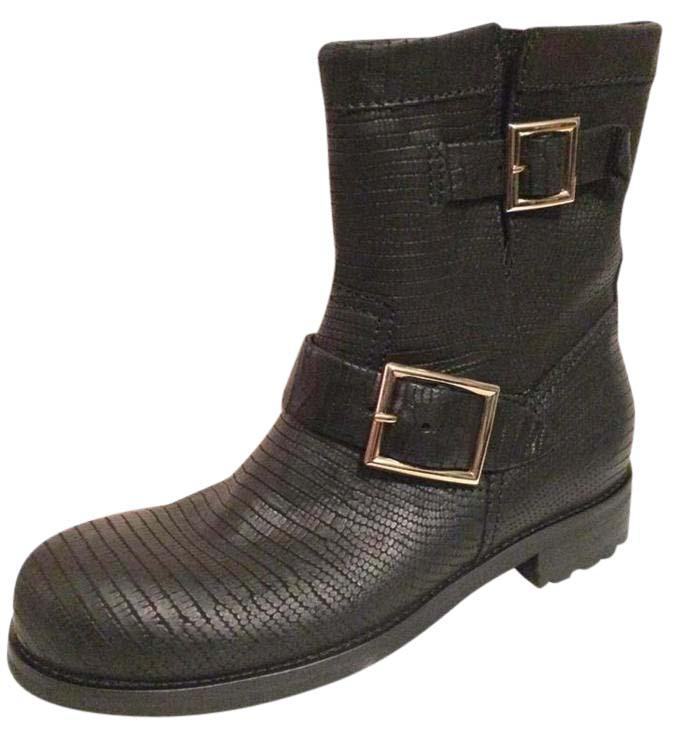 Jimmy Choo Black Youth Lizard Embossed Leather Buckled Motorcycle Biker 36.5 Boots/Booties Size US 6.5