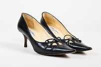 Jimmy Choo Leather Bow Black Pumps