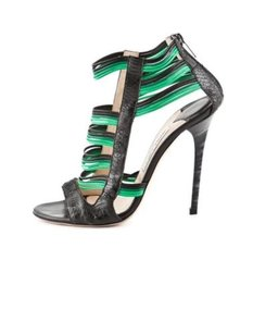 Jimmy Choo Womens Black Green Lizard Skin Strappy High Heel Multi-Color Pumps