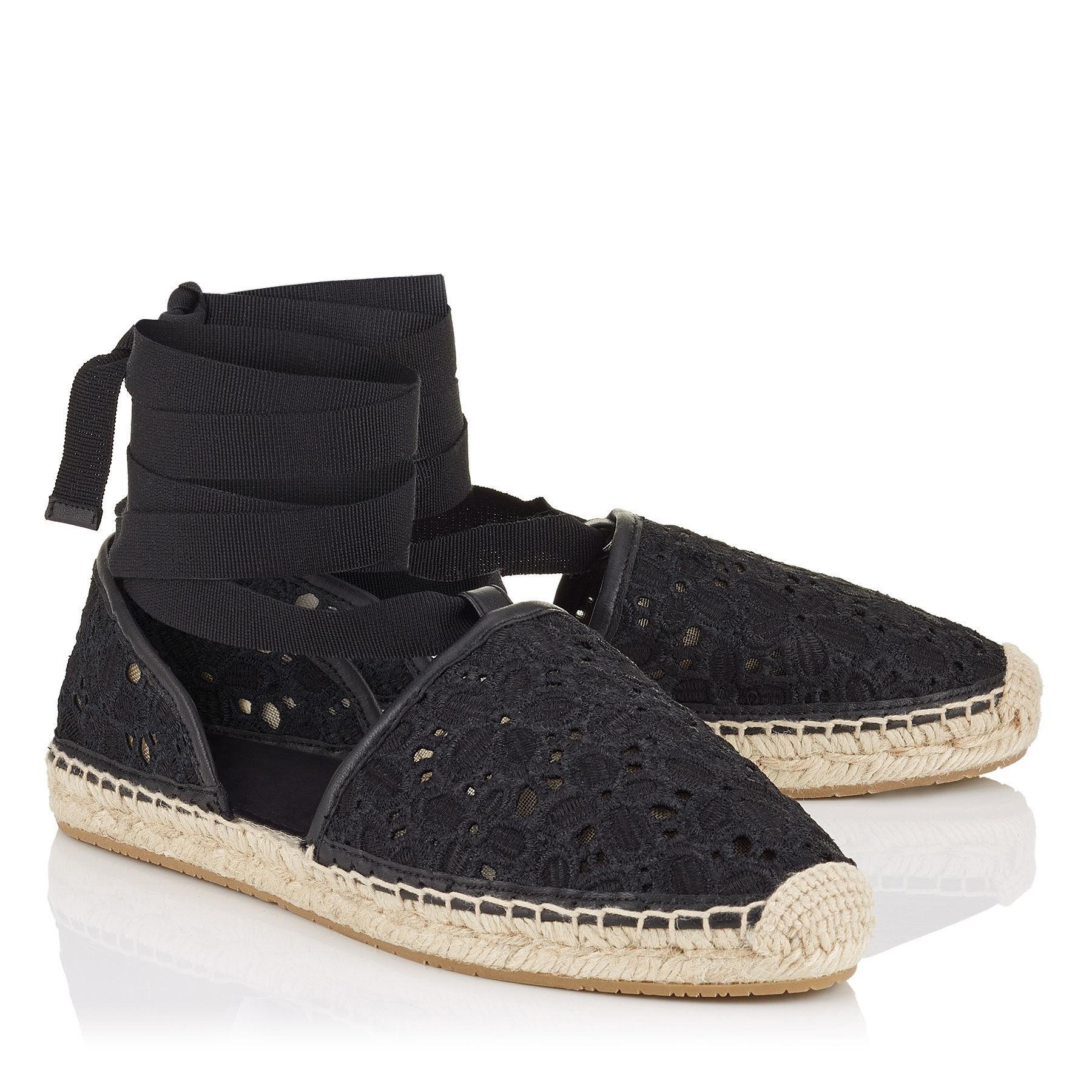 jimmy choo factory outlet online nmvi  Jimmy Choo Dolphin Lace Embroidered Espadrille Tie black Flats