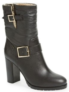 Jimmy Choo Dart Leather Shearling Mid Calf Moto Black Boots