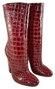 Jimmy Choo Burgundy Patent Croc Embossed Mid Calf Red Boots