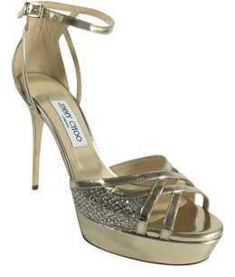 Jimmy Choo Glitter Pale Gold/Silver Sandals