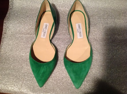 Jimmy Choo Suede Patent Green Flats
