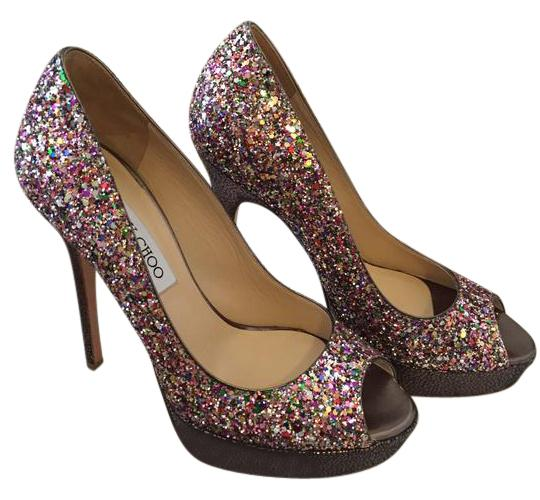 Jimmy Choo Multi Sequin Open Toe Sparkly Pumps Formal Shoes Size US 6 Regular (M, B)