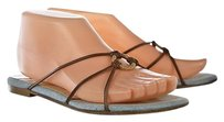 Jimmy Choo Womens 366 Leather Slip On Open Toe Brown Sandals