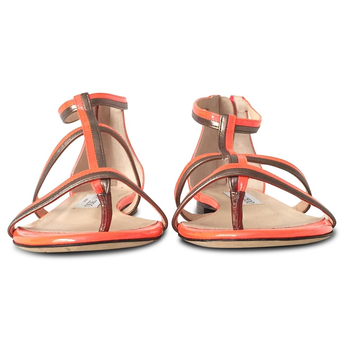 db4703d01c3 ... Jimmy Choo Orange New New New Tabitha T-strap Patent Leather Sandals  Size EU 37 ...