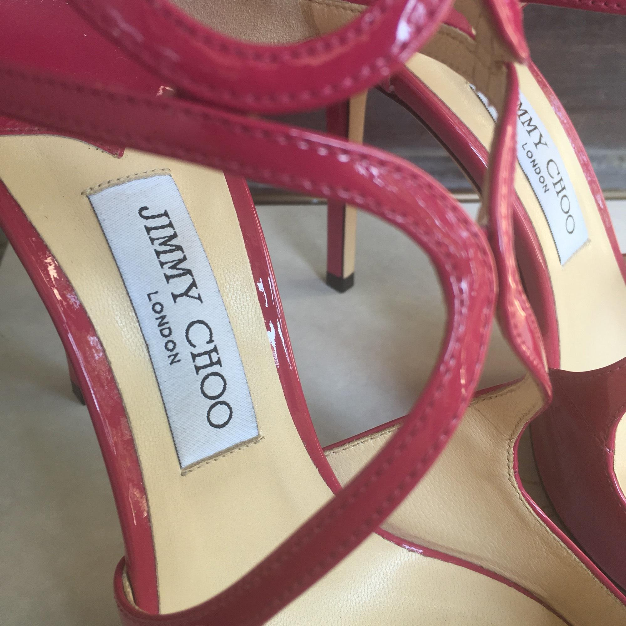 c4e384d1e52 US Jimmy Choo Pink Lancer 100mm 100mm 100mm Patent Pumps Size EU 39.5  (Approx.