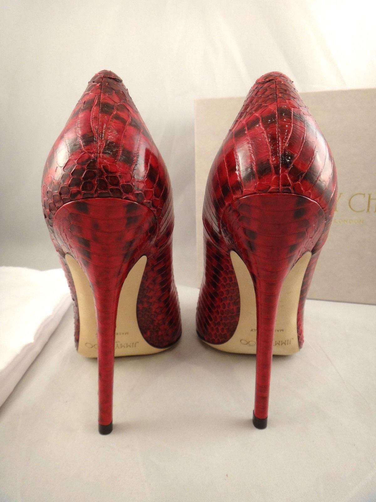 ebb7f553d4 ... Gentlemen/Ladies < Jimmy Choo Red Anouk Snakeskin Glossy Leather  Pointed Pointed Pointed Heel 37 ...