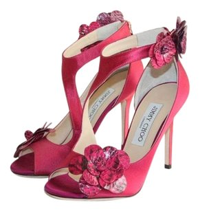 Jimmy Choo Satin Purple Flower Purple, Fuchsia Sandals