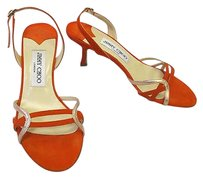 Jimmy Choo Suede Slingback Sandals W Pink Gold Metallic Accents Orange Pumps